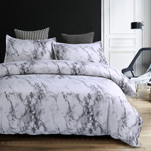 Wongs bedding Modern Marble Printed Bedding Set Grey Duvet Cover Bed Quilt Pillowcase 3pcs