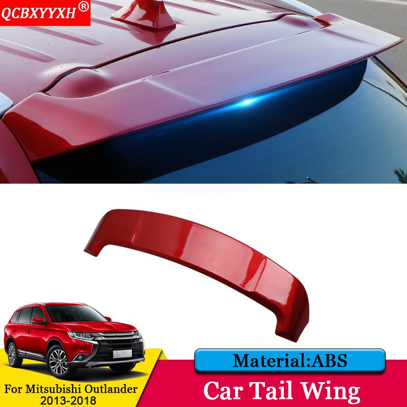 QCBXYYXH Car-styling Car ABS Tail Rear Trunk Spoiler Wing Decoration Cover Auto Accessories For Mitsubishi Outlander 2013-2018 car auto accessories rear trunk molding lid cover trim rear trunk trim for nissan sunny versa 2011 abs chrome 1pc per set