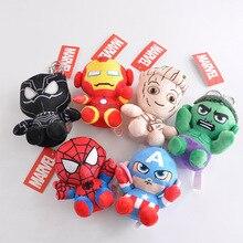 6 шт. супер герой Капитан Америка Тор Железный человек паук Мягкие плюшевые игрушки Мстители фильм куклы для детей подарок на день рождения