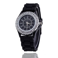14 colors Fashion Silicone GENEVA Watch Hot Selling Women Dress Watch Women Rhinestone Watches relogio feminino Women Quartz Watches