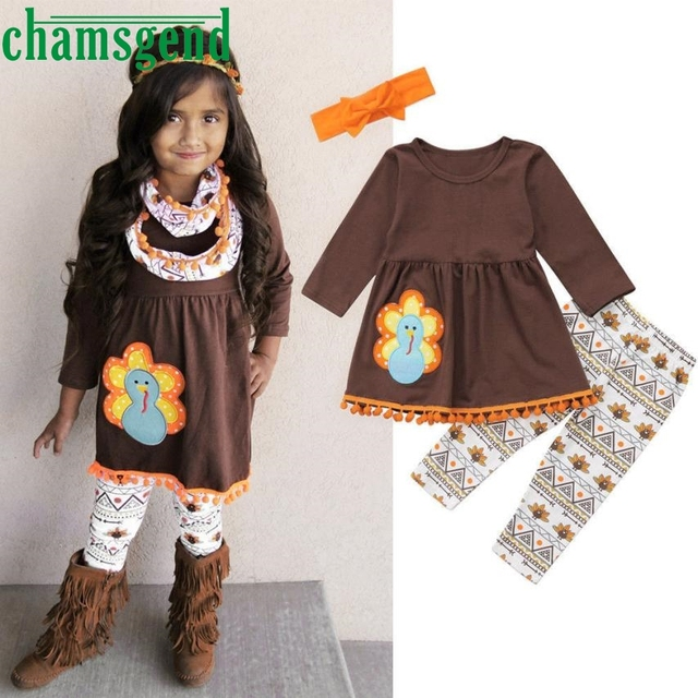 1e6313577f3a5 US $11.82  autumn Fashion Turkey Thanksgiving dress pants suit Toddler Kids  Baby Girl O neck Dress Tops+Pants Outfit Set Cotton ov1 p30-in Clothing ...