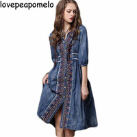 Women's 2018 spring and autumn new large size denim dress Ethnic tribal wind and embroidery long sleeve women's dress D211