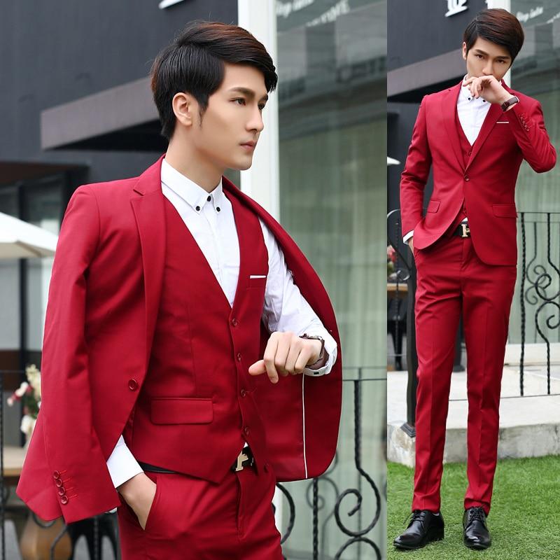 2019 Men Suit Wedding Fashion Business Dress Suits Male Blazer Party Masculino Suits Clothes 3 pieces set (Jacket+Vest+Pants)
