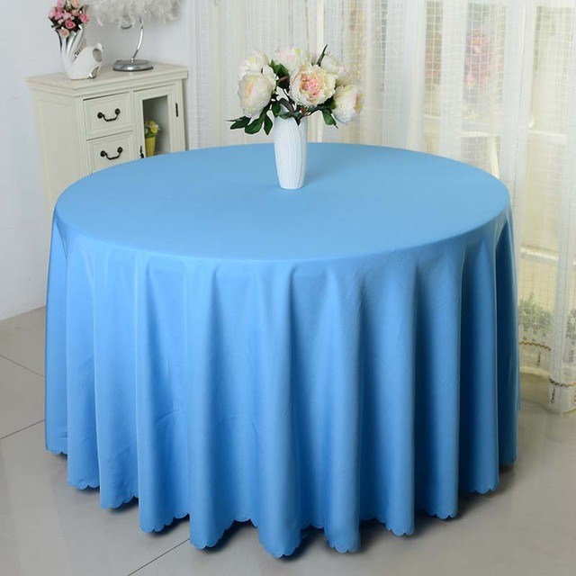 Elegant Free Shipping 10pcs Blue Wedding Decorative Polyester Round Table Cloths  Banquet Table Covers For Table Decoration