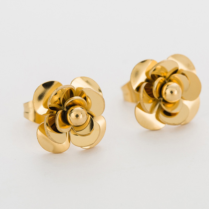 Fashion Women Earrings 316LStainless Steel Rose Gold Flower Stud Earrings 5