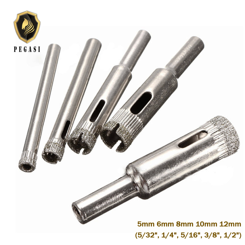 PEGASI 5 pcs 5/6/8/10/12 milímetros Diamond Revestido Buraco Saw Broca Cortador De Mármore bits Conjunto de Ferramentas Para A Telha de Vidro Cortador De Cerâmica