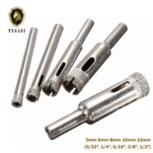 PEGASI 5pcs 5/6/8/10/12mm Diamond Coated Hole Saw Marble Cutter Drill Bits Tool Set For Tile Glass Ceramic Cutter [store] zhuzilin roller glass cutter cut 6 12mm thick glass cutter glass cutter head