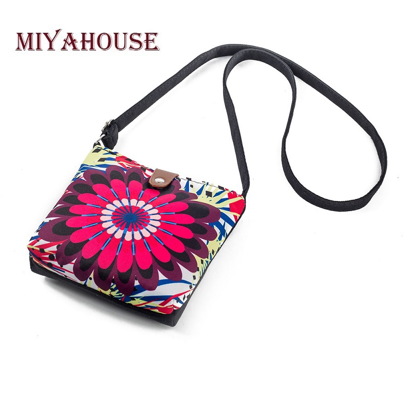 Miyahouse Floral Printed Smalle Crossbody Messenger Bag For Women Summer Design Phone Bag Female Casual Canvas Shoulder Flap Bag sweet canvas and floral printed design tote bag for women
