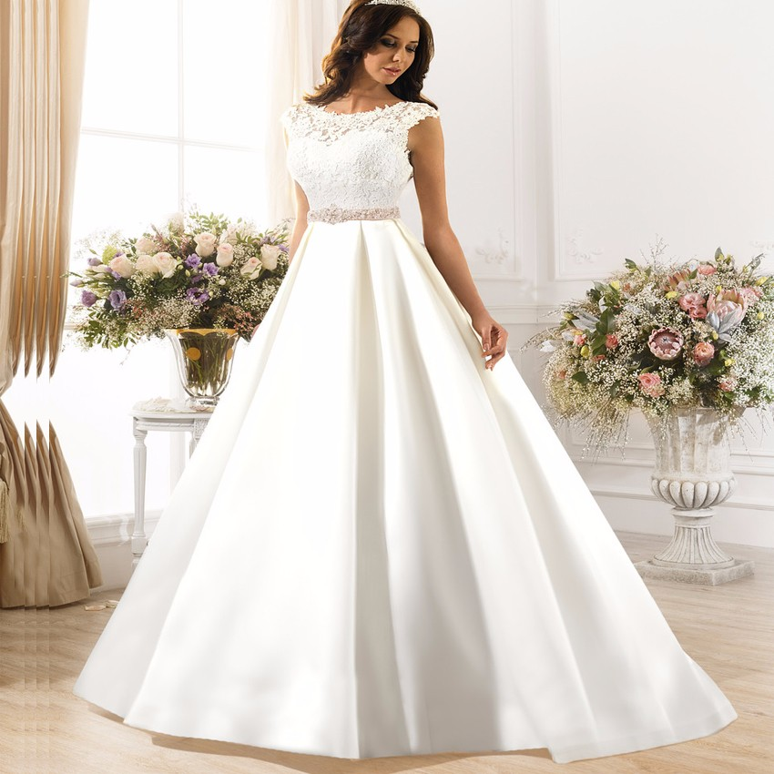 Aline Wedding Gown: New Arrival Elegant Aline Wedding Dress Long 2017 O Neck