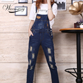 Womens Jumpsuit Denim Overalls 2017 Spring Autumn Casual Ripped Hole Loose Pants Pockets Jeans Coverall vaqueros mujer JP-003