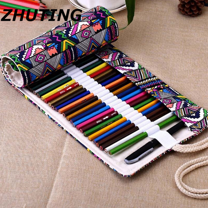 36/48/72 Hole Ethnic Style Pencil Case Stationery Canvas Pen Roll Up Bag Curtain Pencils free shipping pu leather case for cube t8 t8s t8 plus t8 ultimate 8tablet pc high quality case for cube t8 free 2 gifts