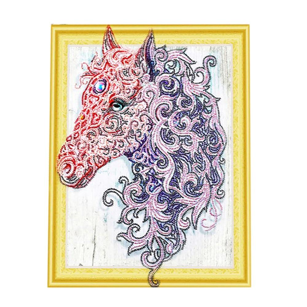 Bricolage diamant peinture broderie cheval tête motif diamant peinture strass mosaïque décoration de la maison-bâton foret taille 40