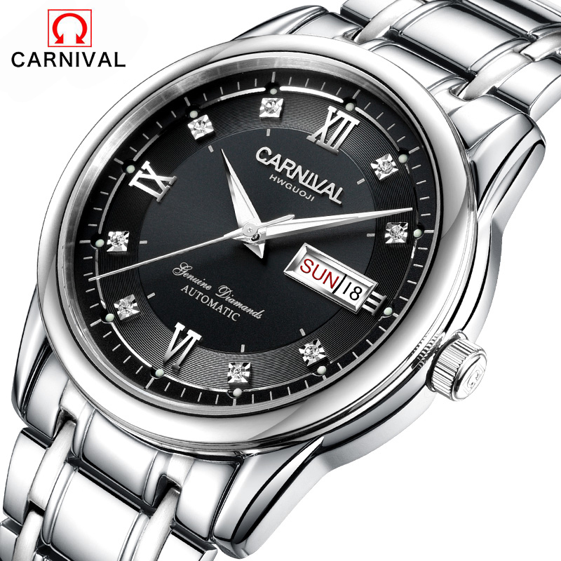 Carnival fashion casual brand men mechanical watches relogio masculino stainless steel band 2016 luxury automatic wristwatches winner fashion men mechanical watches leather strap gold case 2016 casual brand analog automatic wristwatches relogio masculino