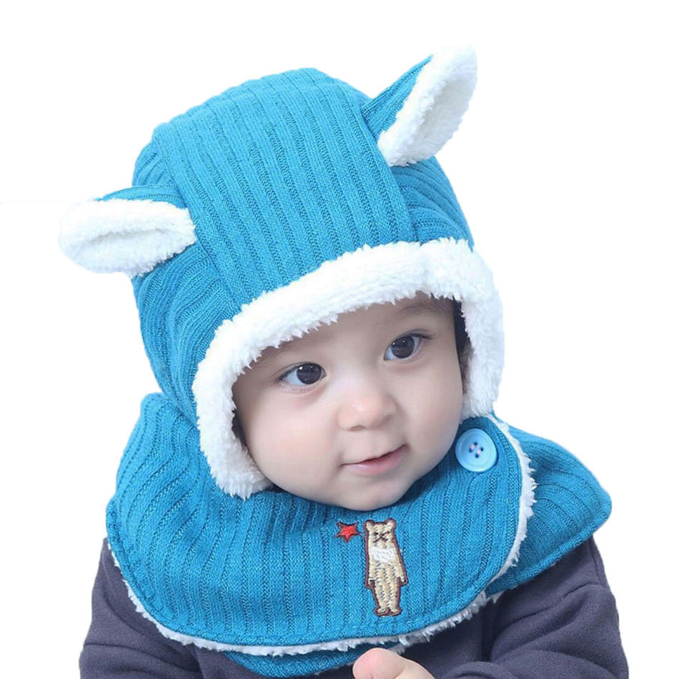 Winter Baby Girl Boys Hat Scarf Kids Knitted Hooded Scarf Child Rabbit Ear Beanie Earflap Cap Warm Circulal Scarves Solid M7034