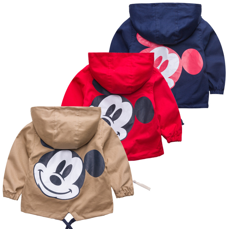Jacket Boys Clothing Coats Outerwear Hooded Windbreaker Kids Mickey Baby Autumn Children