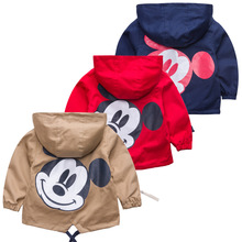 New Autumn Windbreaker Kids Jacket Boys Cute Mickey Baby Outerwear Coats Boys Kids Hooded Children Clothing недорого