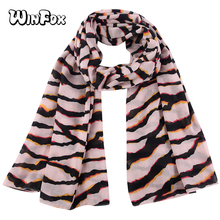 Winfox 2018 Fashion Women Shawls Scarf Striped Leopard Ladies Pink Black Headscarf Female Hijab