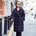 2016 женщин большой лацкане flare рукава халат средней длины мода утолщение вниз пальто верхняя одежда
