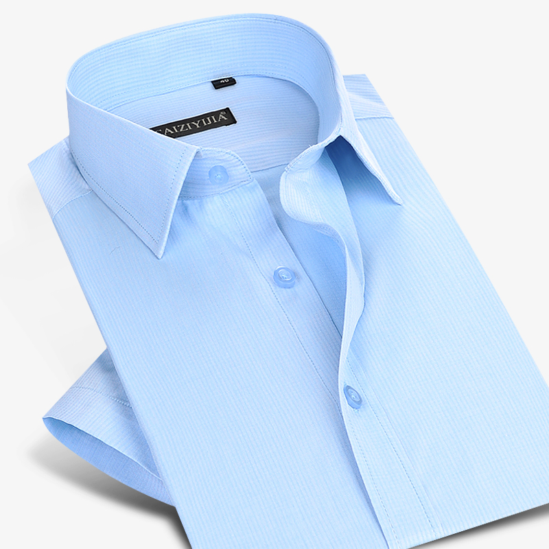 CAIZIYIJIA Summer 2017 Men s Light Blue Solid Short Sleeve Dress Shirts Twill Classic Fit Lightwight
