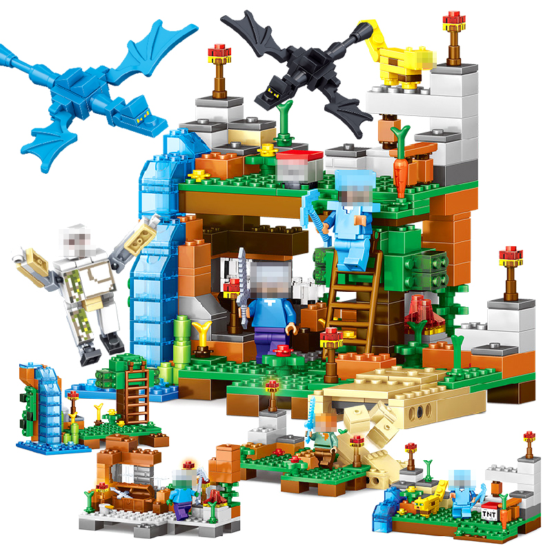 378 pcs. 4 in 1 my world interoperability legoed minecrafted numbers building designers bricks set educational toys for children