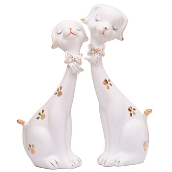 Simple  creative modern home soft decorations cute dog ceramic living room TV wine cabinet small ornaments jewelry