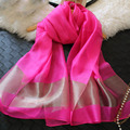 New Silk Women Scarf 12Colors Fashion Black Stitching Gold Silk Scarves Long Section Soft Shawl Fashion Muffler