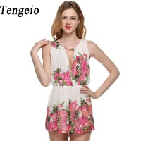 Rompers Womens Jumpsuit 2014 Newest HOT Chiffon Flower Print Macacao Feminino Short Overalls Jumpsuit Female Playsuits