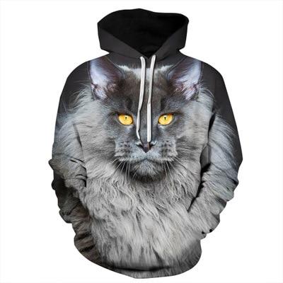 New Fashion Hoody Persian cat Hoodies Men/Women 3d Sweatshirts  Hat Print Colorful Blocks Wolf Hooded hip hop tops