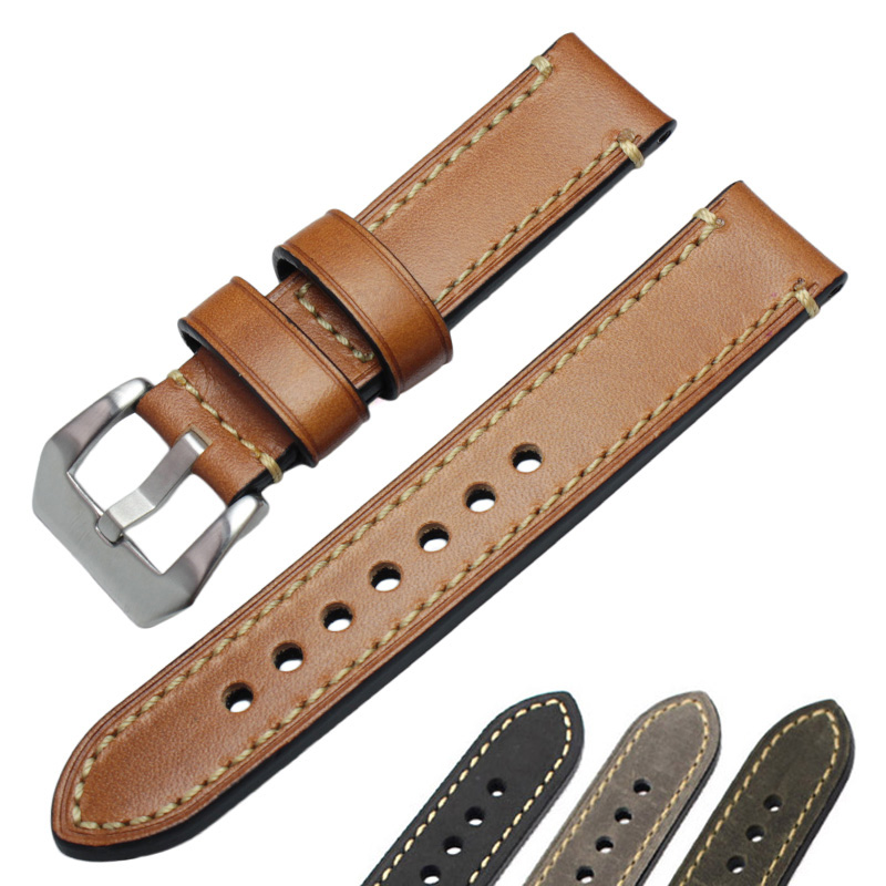 Genuine Leather Watch Band Strap 24mm 22mm 20mm Men Thick Watchbands Bracelet Belt With Metal Buckle Accessories For Panerai цена 2017