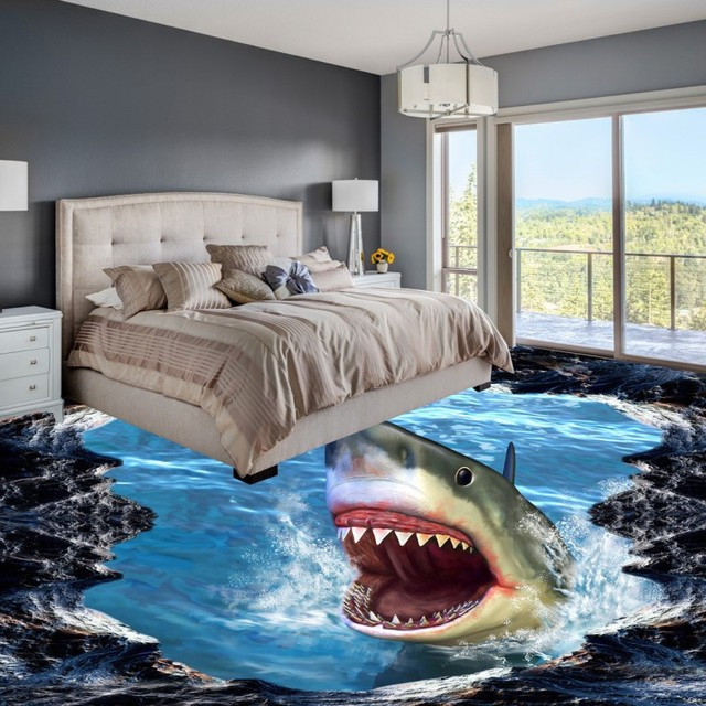 Free Shipping Shark 3D floor painting thickened non-slip living room  bathroom kitchen bedroom coffee
