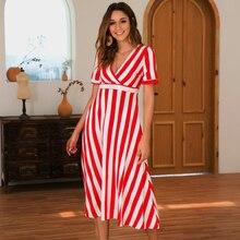 GUMPRUN Summer New Maxi Dress Women Sexy V Neck Short Sleeve Stripe Party Dresses Ladies 2019 Fashion Elegant Beach Casual