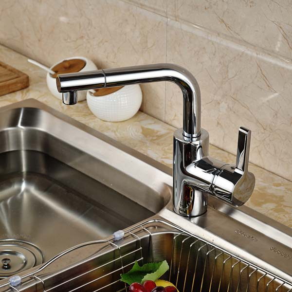 Swivel Spout Kitchen Faucet Single Handle Vessel Sink Mixer Tap Hot and Cold Water