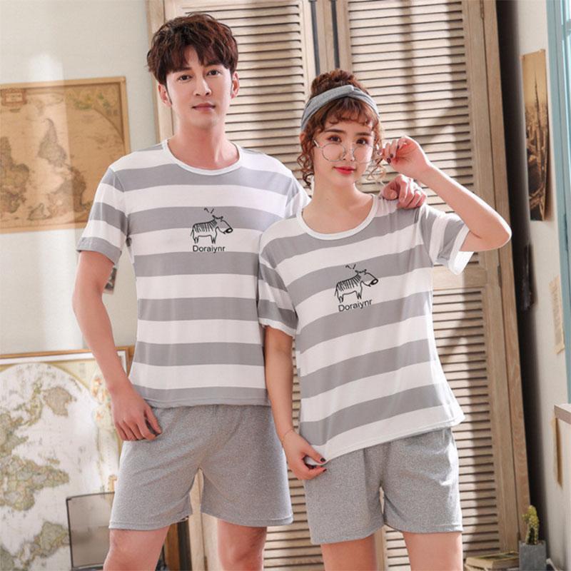 MISSKY Men Women Lovers Pajamas Sets Soft Summer Smooth Milk Silk Fashion Casual Home Wear Set Female Sleep Wear