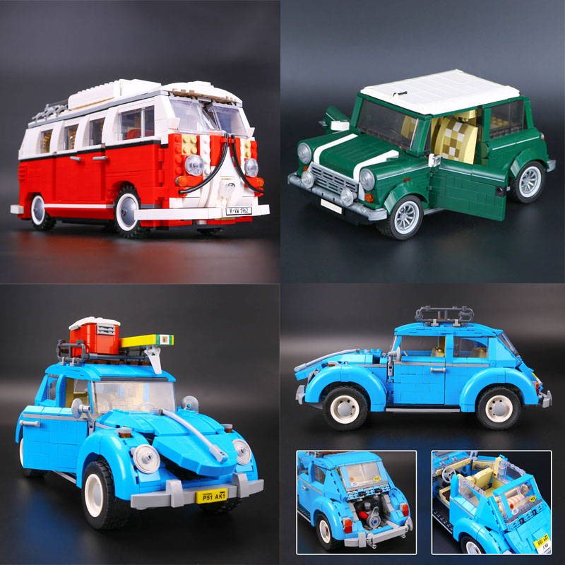 LEPIN 21001 T1 Camper Van+LEPIN 21003 Beetle+LEPIN 21002 Cooper Model Building Blocks Bricks Toys Gift legoing 10220 10252 10242 lepin 21003 series city car beetle model building blocks blue technic children lepins toys gift clone 10252