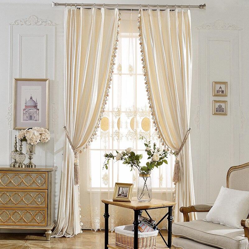Baumwolle Samt Blackout Vorhänge Für Wohnzimmer Solide Einfache Moderne  Vorhang Mit Quaste Tüll Sheer Vorhang Für Fenster Schlafzimmer