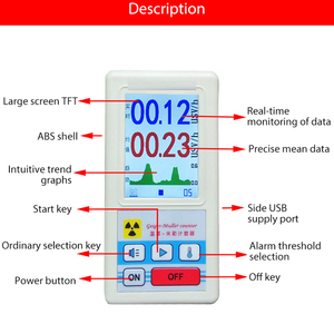 Display Screen Geiger Counter Display Nuclear Radiation Detector Personal Dosimeter Marble Detectors Beta Gamma X-ray Tester
