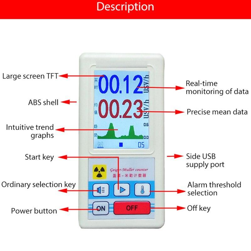Pantalla contador Geiger de la radiación Nuclear Detector de dosímetro Personal mármol detectores Beta Gamma X-probador de rayos