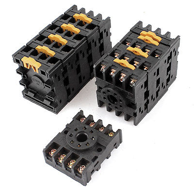 10pcs PF083A 35mm DIN Rail Relay Socket Base 8-Pin for JTX-2C JQX-10F 10pcs 8 pin power timer relay socket base holder pf083a for mk2p i dh48s