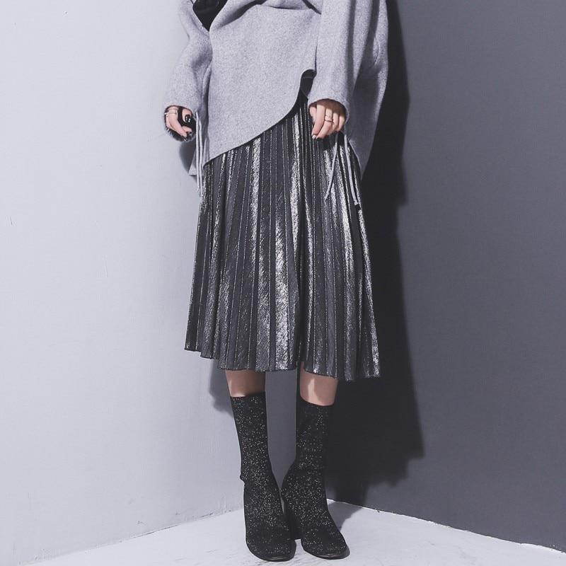 Spring Summer Women Fashion Girls Skirts Women Metallic Silver Skirt Midi Skirt Casual High Waist Metallic Pleated Skirt Co1