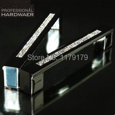 "160mm Fashion deluxe glass villadom diamond furniture decoration handle k9 crystal silver wardrobe cabinet door pull handle 6.3"""