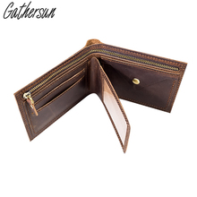 Leather Billfold Wallet with Coin Pocket Men Short Crazy Horse Leather Zipper Wallet with Photo Holder