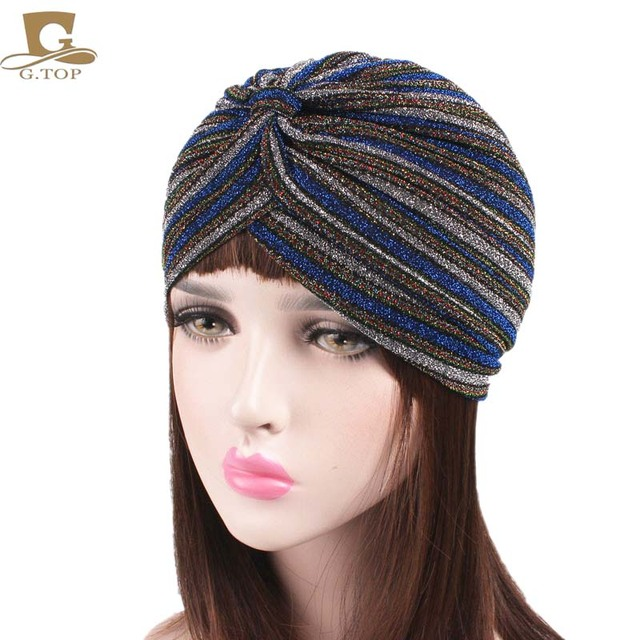 Luxury Women striped Shiny head wrap Shimmer Glitter Sparkly Turban Hats  Hijab cap aba93d0320b2
