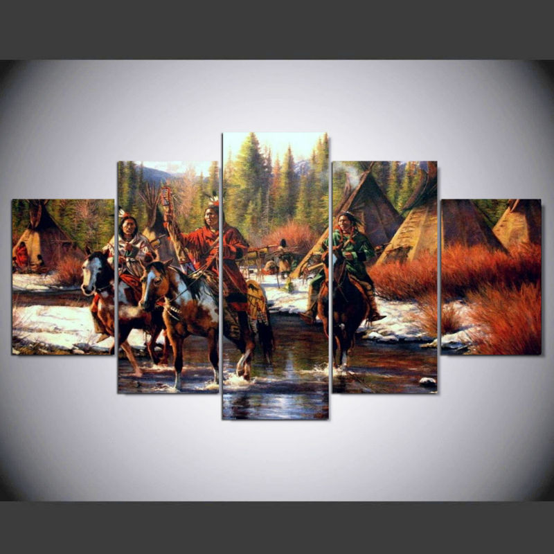 Native American Indian Home Decor: Native American Painting 5 Piece Canvas Wall Art Printed