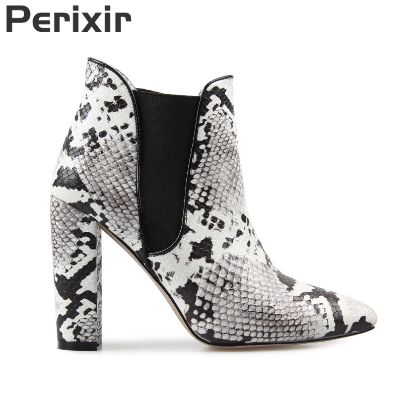 Oiah Print Snake Pu Women Ankle Boots Thick High Heels Zip Pointed Toe Footwear Female Boot