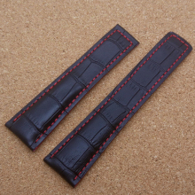 Hot 22 MM Black Watchband With Red Stitched Line Fashion Brand Watch men Straps Bracelet free