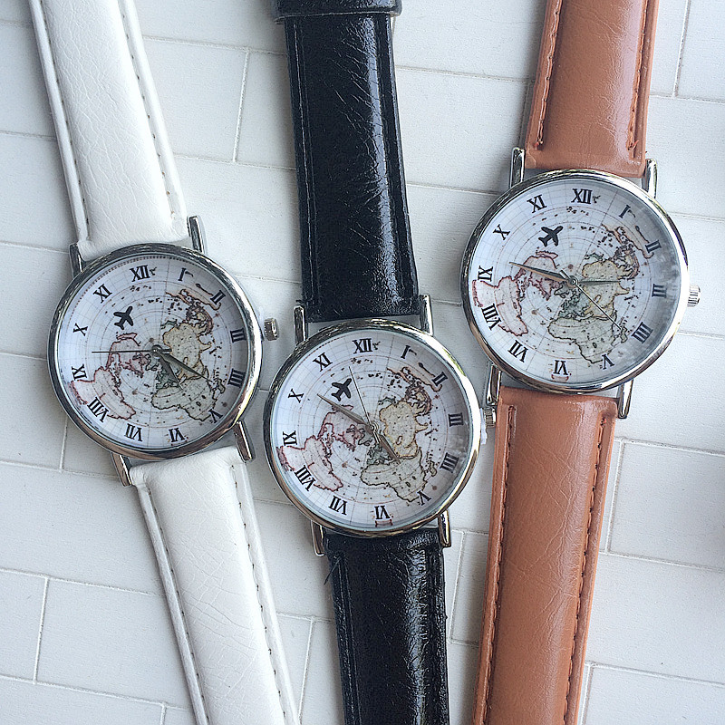 2016 Ebay New World Map Leather Watch,Europe British Style Male And Female  Students Map And Plane Watch Vintage Map Watch