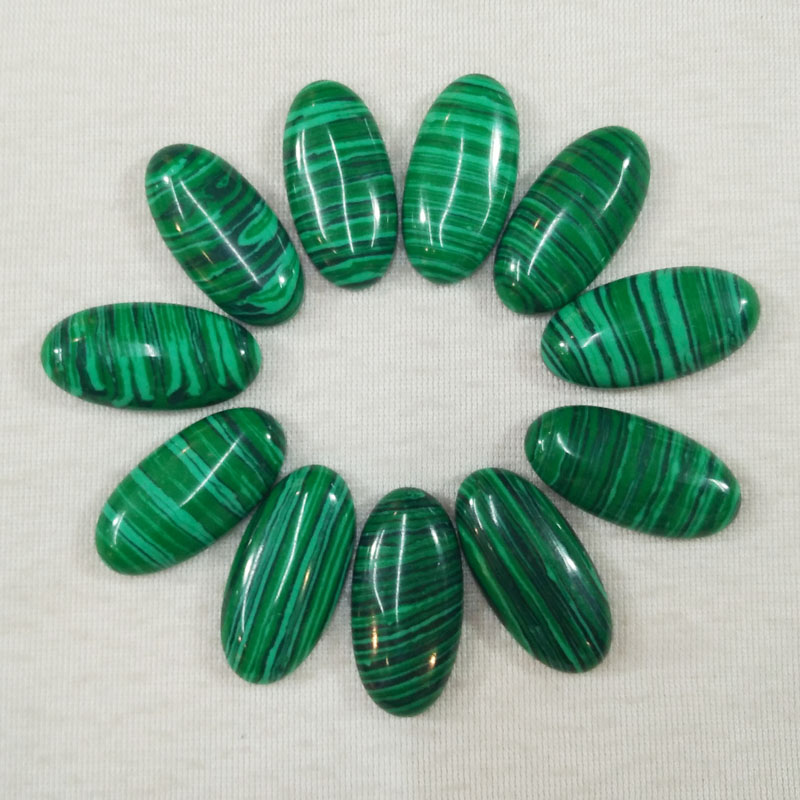 Wholesale 20pcs/Lot good quality malachite stone oval shape cab cabochons for Jewelry Accessories beads 15x30mm free shipping