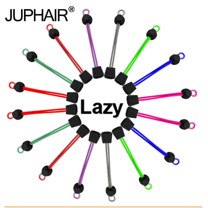 JUP 1 Pair New Multicolor Laces Black Buckle Elastic No Tie Locking Shoelaces Trainer Sports Fitness Athletic Sneaks Shoe Laces metal tips sports athletic colored boot laces awesome metallic gold shoelaces multicolor round shoestrings trainer laces