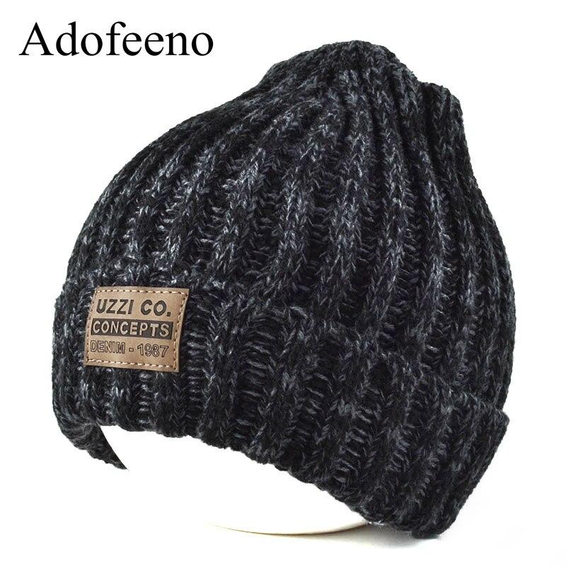 Adofeeno New Winter Skullies Beanies for Women Fashion Knitted Winter Hats Solid Color Bonnet Cap Warm Women Hat skullies