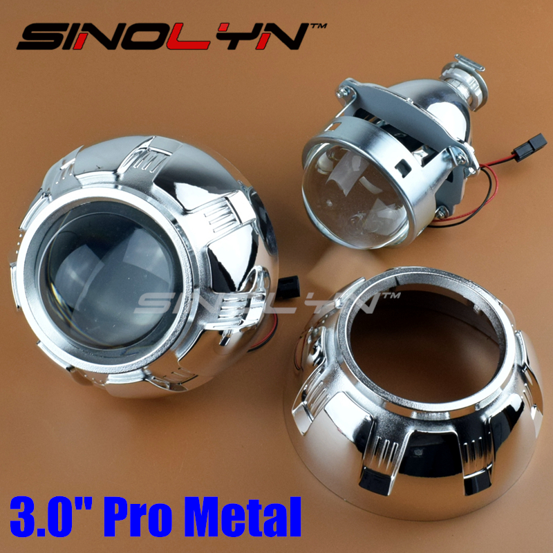 ФОТО Car Restyling Pro Metal 3.0 inch HID Bi-xenon Projector Lens Headlight Xenon Headlamp Lenses Lighting H4 H7, Use H1 Xenon Bulbs